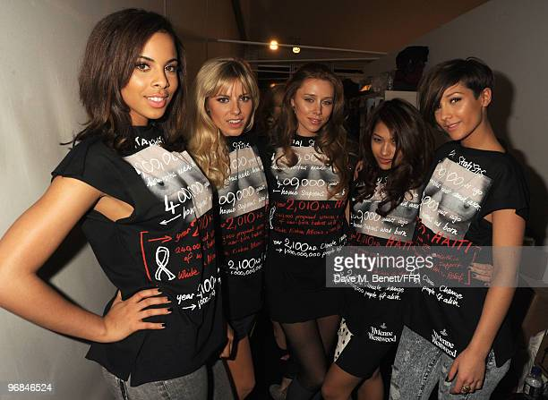 Rochelle Wiseman Mollie King Una Healy Vanessa White and Frankie Sandford of The Saturdays pose backstage during Naomi Campbell's Fashion For Relief...