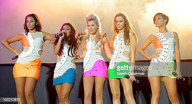 Rochelle Wiseman, Vanessa White, Mollie King, Una Healey and Frankie Sandford of The Saturdays perform at the Isle Of Man Bay Festival on June 18,...