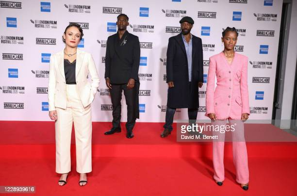 """Rochenda Sandall, Malachi Kirby, Shaun Parkes and Letitia Wright attend the European Premiere of """"Mangrove"""", the Opening Night screening of the 64th..."""