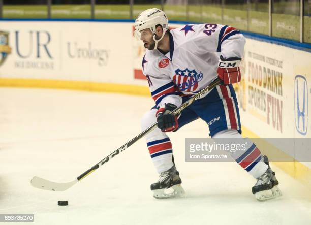 Rochester Americans center Colin Blackwell looks to pass during an AHL game between the Utica Comets and the Rochester Americans on December 13 at...
