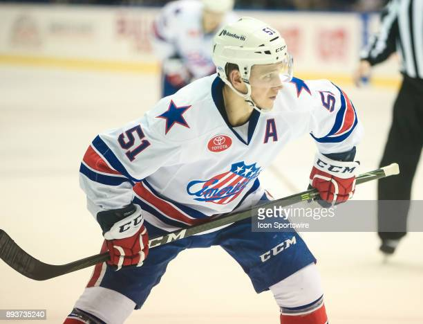 Rochester Americans center Kyle Criscuolo awaits the drop of the puck during an AHL game between the Utica Comets and the Rochester Americans on...