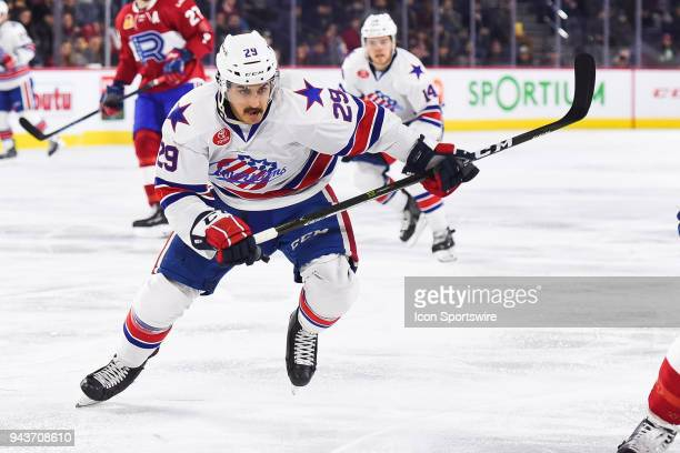 Rochester Americans center Sahir Gill skates towards the play during the Rochester Americans versus the Laval Rocket game on April 4 at Place Bell in...