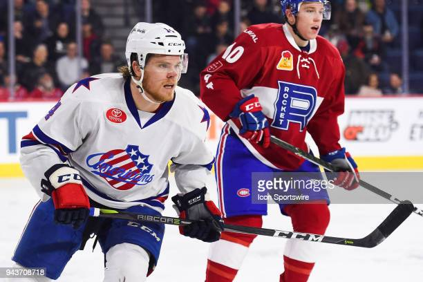 Rochester Americans center Seam Malone looks to his left during the Rochester Americans versus the Laval Rocket game on April 4 at Place Bell in...