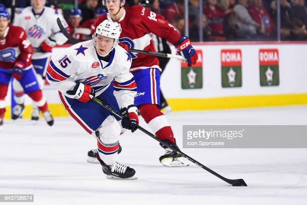 Rochester Americans center Vasily Glotov skates in control of the puck at the blue line during the Rochester Americans versus the Laval Rocket game...