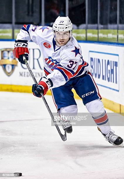 Rochester Americans defenseman Mac Bennett skates during an AHL Hockey game between the Providence Bruins and the Rochester Americans on November 23...