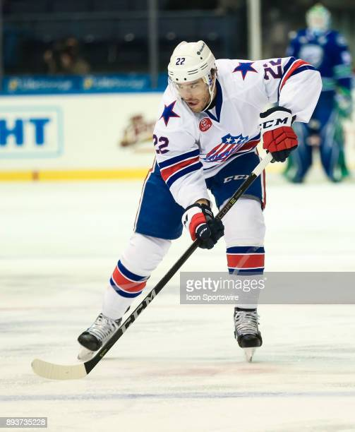 Rochester Americans defenseman Zach Redmond skates during an AHL game between the Utica Comets and the Rochester Americans on December 13 at the Blue...