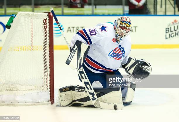Rochester Americans goalie Linus Ullmark makes a pad save during an AHL game between the Utica Comets and the Rochester Americans on December 13 at...