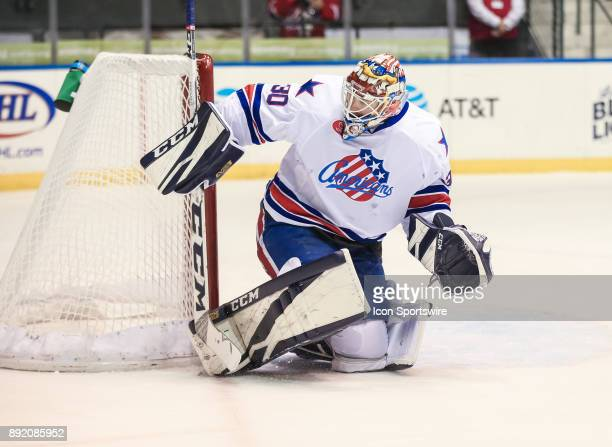 Rochester Americans goalie Linus Ullmark makes a skates save during an AHL game between the Utica Comets and the Rochester Americans on December 13...