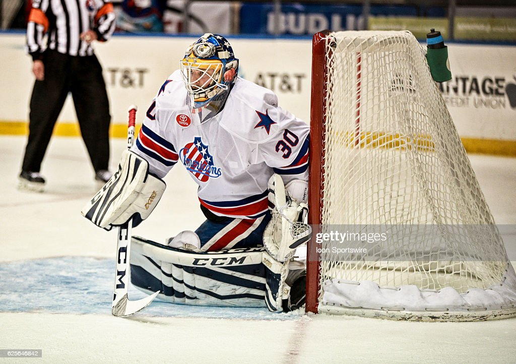 Rochester Americans goalie Linus Ullmark (30) skates during an AHL Hockey game between the Providence Bruins and the Rochester Americans on November 23, 2016 at the Blue Cross Arena in Rochester, NY.