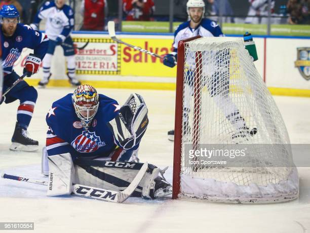 Rochester Americans goaltender Linus Ullmark can't come up with a save during an AHL game between the Syracuse Crunch and the Rochester Americans on...