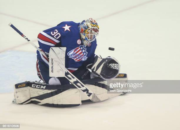 Rochester Americans goaltender Linus Ullmark makes a save during an AHL game between the Syracuse Crunch and the Rochester Americans on April 25 at...
