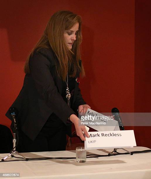 Rochester And Strood byelection candidate Conservative Kelly Tolhurst rearranges name cards after United Kingdom Independence Party candidate Mark...