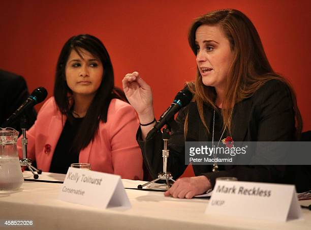Rochester And Strood byelection candidates Naushabah Khan of the Labour Party and Conservative Kelly Tolhurst take part in a public debate on...