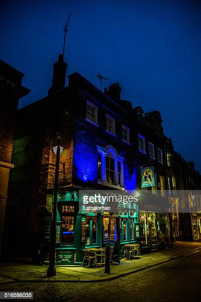 rochester at night - river medway stock photos and pictures