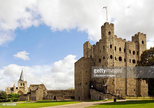 Rochester Castle in Kent South East England Rochester Castle stands on the east bank of the River Medway in Rochester Kent It is one of the...