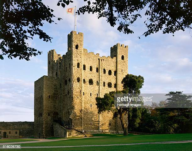 Rochester Castle Kent c2000s View of the 12th century keep through the trees from inside the inner bailey Artist Historic England Staff Photographer