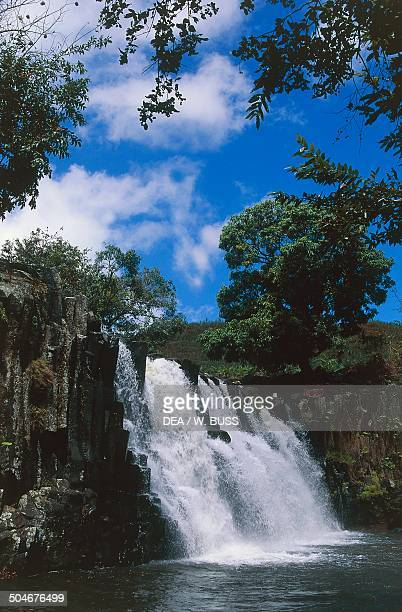 Rochester Falls on the Savanne River near Souillac south coast Mauritius
