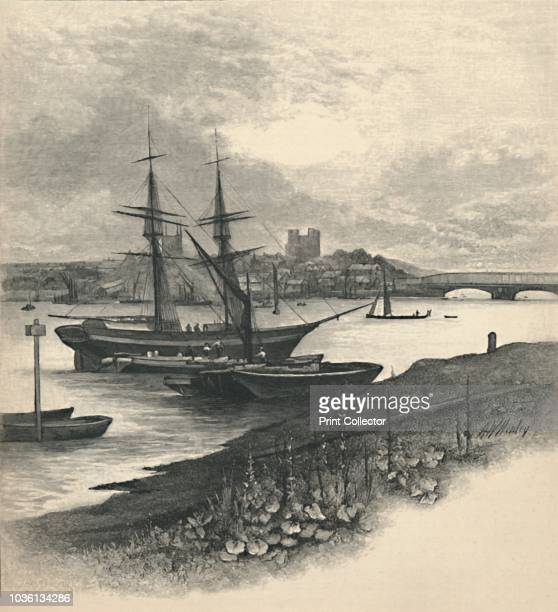 Rochester from Strood' 1886 Sailing ships on the River Medway in Kent with Rochester Castle in the distance From The Magazine of Art [Cassell Company...
