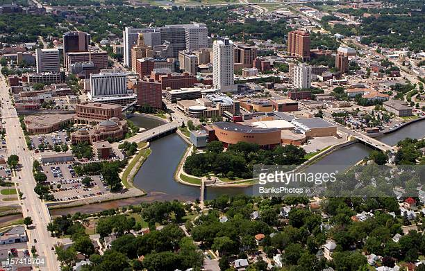 rochester, mn - aerial city view - minnesota stock pictures, royalty-free photos & images
