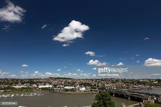 rochester on the medway river - river medway stock photos and pictures