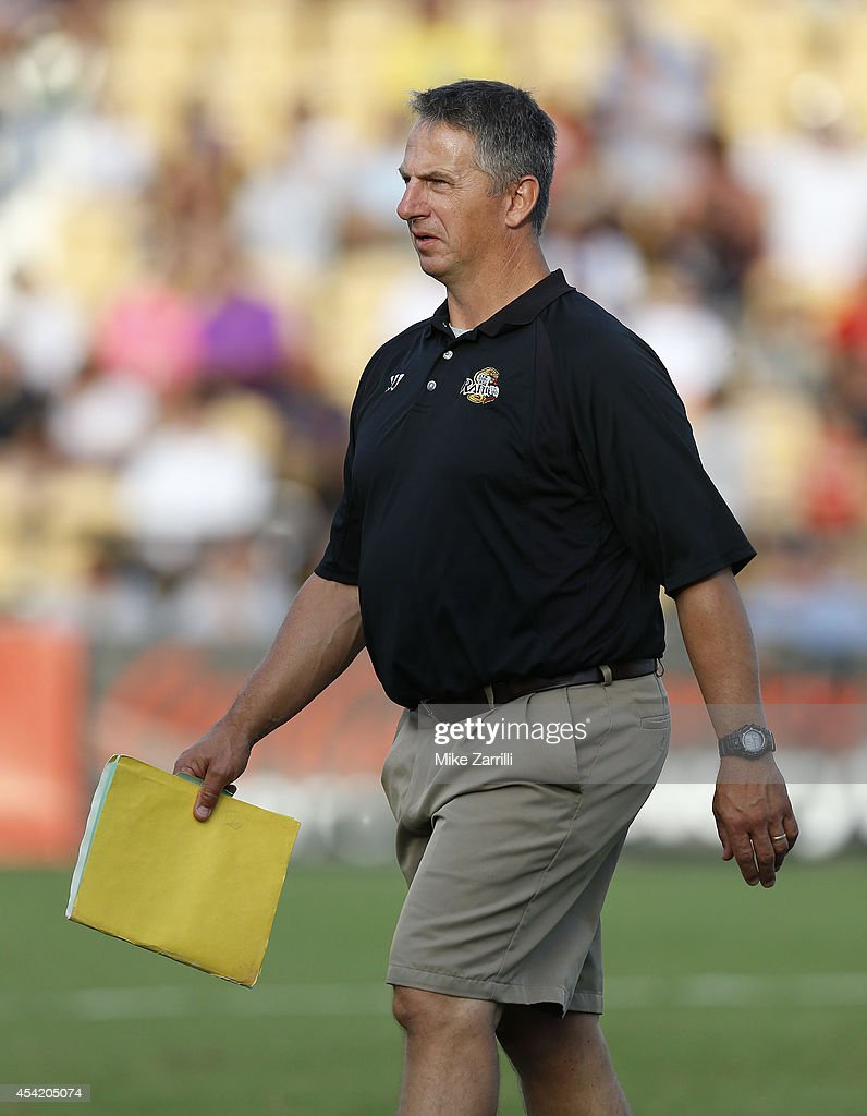 Rochester Rattlers head coach Tim Soudan walks on the field prior to the 2014 Major League Lacrosse Championship Game against the Denver Outlaws at Fifth Third Bank Stadium on August 23, 2014 in Kennesaw, Georgia.