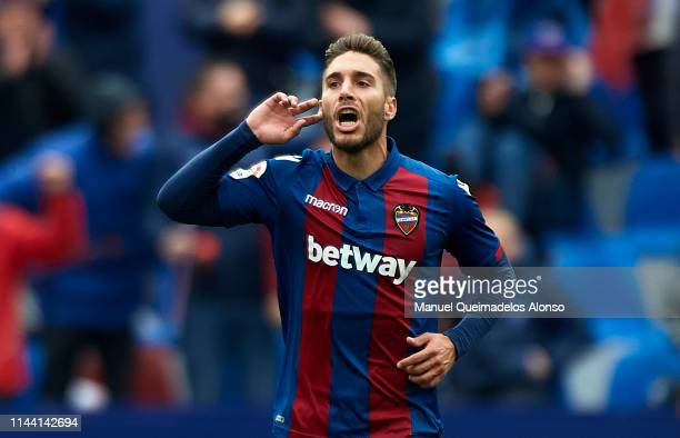 Rochina of Levante reacts after scoring his team's second goal during the La Liga match between Levante UD and RCD Espanyol at Ciutat de Valencia on...