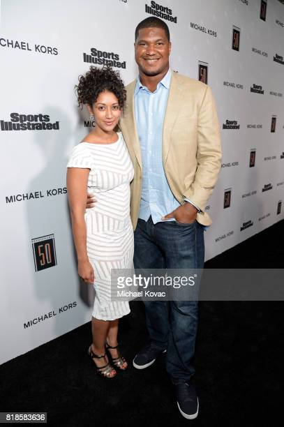 Rocio Campbell and Calais Campbell at Sports Illustrated 2017 Fashionable 50 Celebration at Avenue on July 18, 2017 in Los Angeles, California.