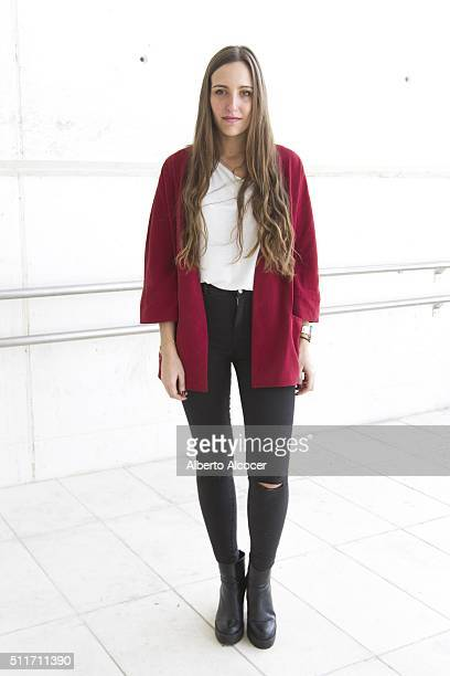 Rocio Muniz wears Zara shoes Zara pants Zara jacket and Lefties tshirt during Mercedes Benz Fashion Week at Ifema on February 19 2016 in Madrid Spain