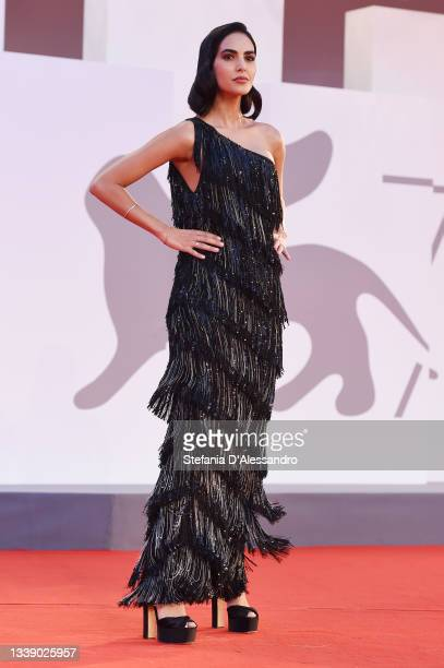 """Rocio Munoz Morales attends the red carpet of the movie """"Qui Rido Io"""" during the 78th Venice International Film Festival on September 07, 2021 in..."""