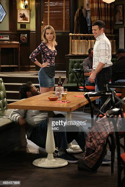 UNDATEABLE A Rock and a Hard Place Walk Into a Bar Episode 303 Pictured Ron Funches as Shelly Bridgit Mendler as Candace Brent Morin as Justin