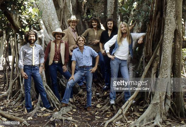 Rock and blues band The Allman Brothers pose for a portrait in March 1982 in Sarasota Florida