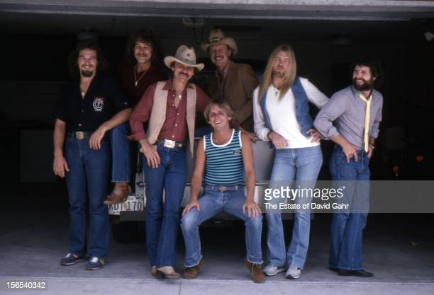 Rock and blues band The Allman Brothers L R Dan Toler Dave Toler Dickey Betts Dave Goldflies Butch Trucks Gregg Allman Mike Lawler pose for a...