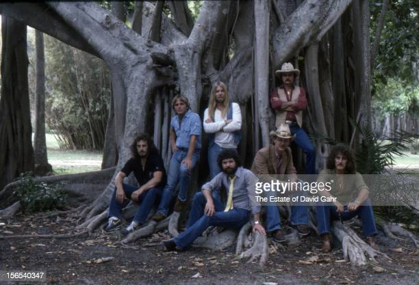 Rock and blues band The Allman Brothers L R Dan Toler Dave Goldflies Gregg Allman Mike Lawler Butch Trucks Dickey Betts Dave Toler pose for a...