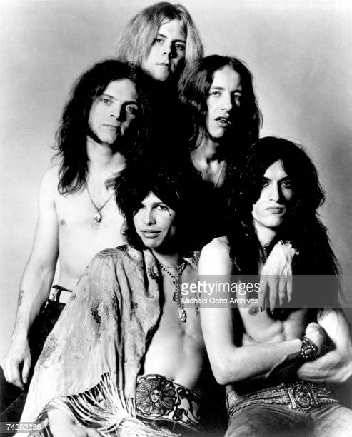 Rock and roll band 'Aerosmith' pose for a portrait in circa 1975 Clockwise from Left Joey Kramer Tom Hamilton Brad Whitford Joe Perry Steven Tyler