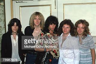 Rock and roll band 'Aerosmith' pose for a portrait in circa 1978 in Los Angeles California LR Joe Perry Tom Hamilton Steven Tyler Joey Kramer Brad...