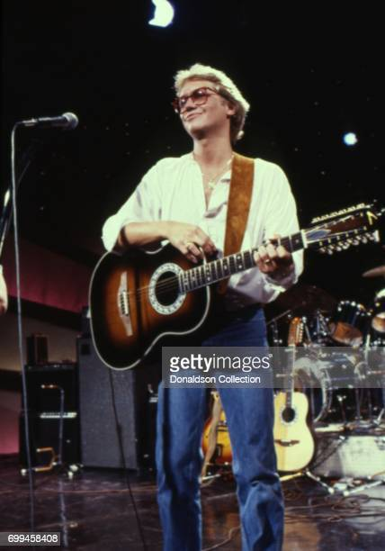 Rock and roll band 'America' Gerry Beckley performs on 'Midnight Special' TV show in October 1980 in Los Angeles California