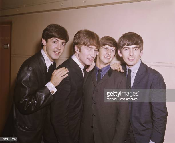 Rock and roll band Beatles pose for a portrait in circa 1964 Paul McCartney John Lennon Ringo Starr George Harrison