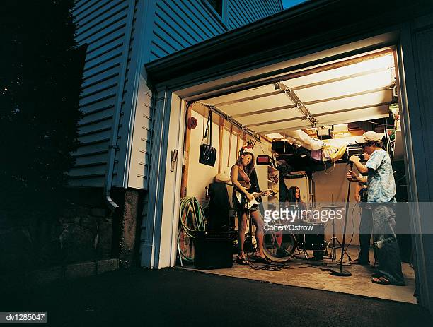 Rock and Roll Band Playing in a Garage