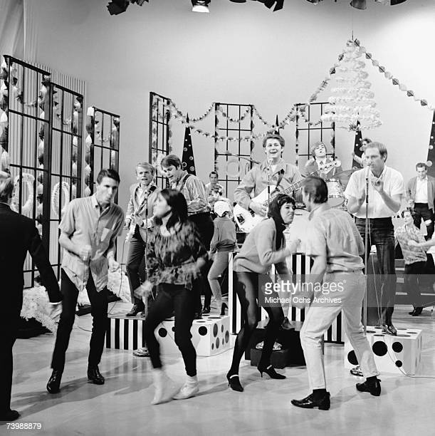 """Rock and roll band """"The Beach Boys"""" appears on the Christmas episode of the TV show Shindig! with the Righteous Brothers on December 17, 1964 in Los..."""