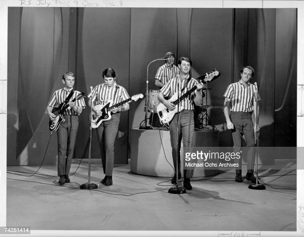 Rock and roll band 'The Beach Boys' perform the song 'Wendy' on the Ed Sullivan Show in September 271964 in New York City New York Al Jardine Carl...