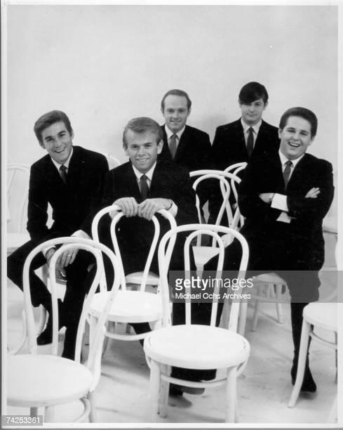 "Rock and roll band ""The Beach Boys"" pose for a portrait in 1963. Dennis Wilson, Al Jardine, Mike Love, Brian Wilson, Carl Wilson."