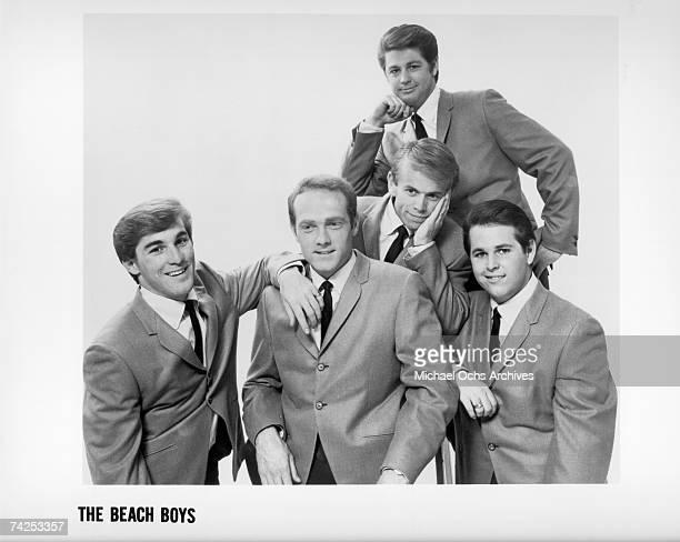 Rock and roll band The Beach Boys pose for a portrait in 1964 Dennis Wilson Mike Love Brian Wilson Al Jardine Carl Wilson