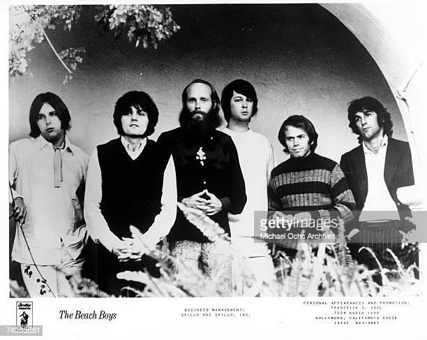 Rock and roll band The Beach Boys pose for a portrait in 1969 Carl Wilson Bruce Johnston Mike Love Brian Wilson Al Jardine Dennis Wilson