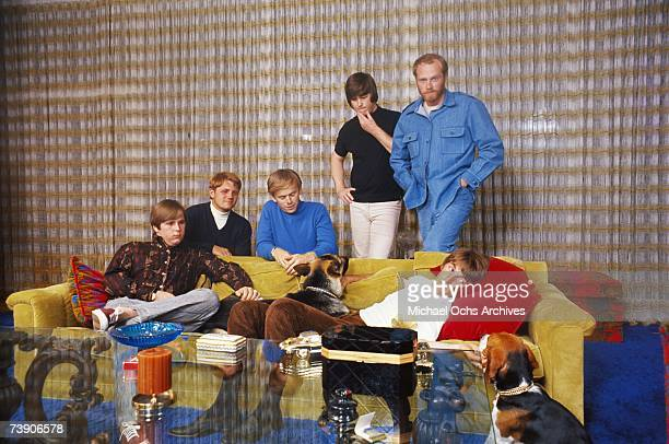"""Rock and roll band """"The Beach Boys"""" pose for a portrait in a house in circa 1965 in Los Angeles, California. Carl Wilson, Bruce Johnston, Al Jardine,..."""