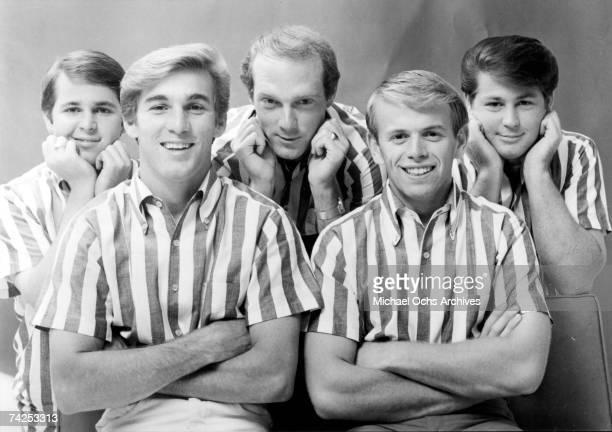 "Rock and roll band ""The Beach Boys"" pose for a portrait in circa 1964. Carl Wilson, Dennis Wilson, Mike Love, Al Jardine, Brian Wilson."
