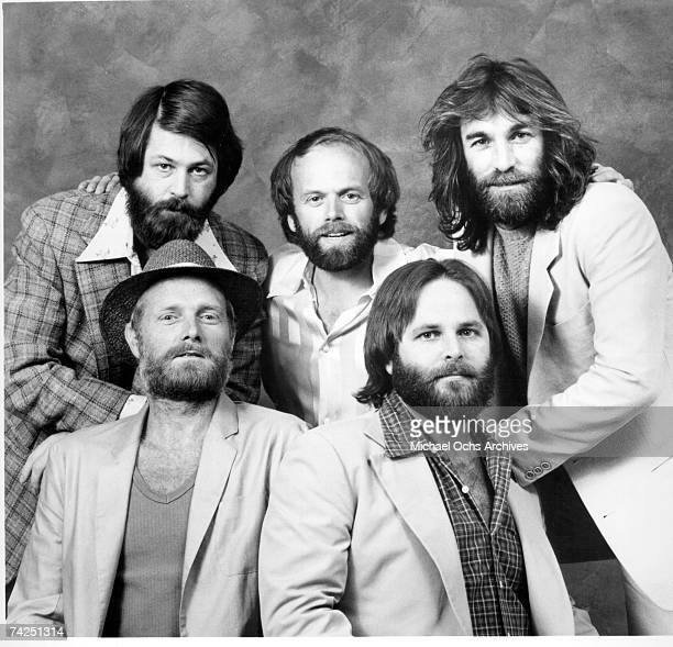 """Rock and roll band """"The Beach Boys"""" pose for a portrait in circa 1976. Clockwise from top left: Brian Wilson, Al Jardine, Dennis Wilson, Carl Wilson,..."""