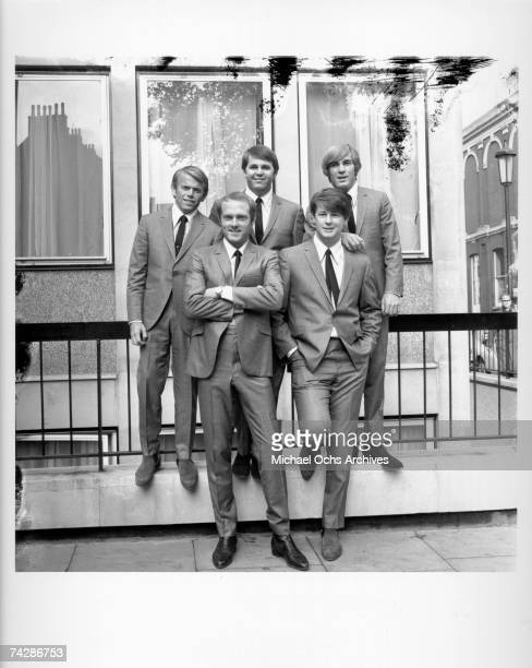 Rock and roll band 'The Beach Boys' pose for a portrait on November 2 1964 in London England LR front row Mike Love Brian Wilson LR back row Al...