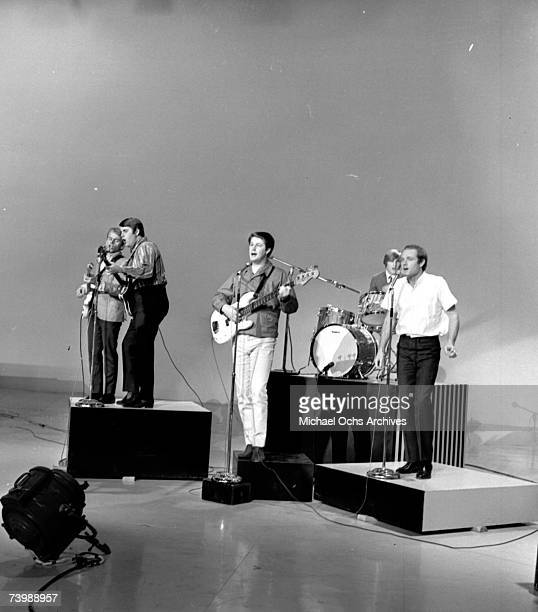"Rock and roll band ""The Beach Boys"" rehearse for a performance on a TV show in December 1964. Al Jardine, Carl Wilson, Brian Wilson, Dennis Wilson,..."