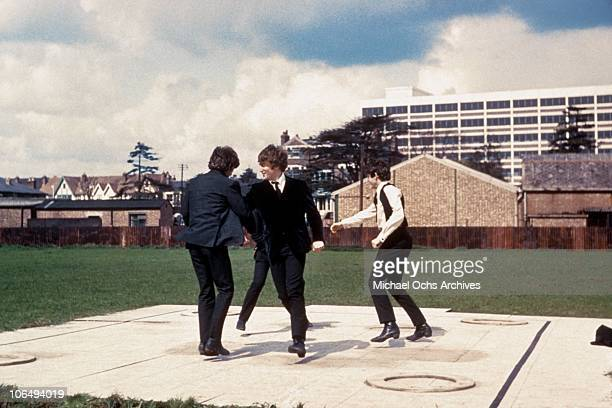Rock and roll band 'The Beatles' in a still from their movie 'A Hard Day's Night' which was released in 1964 George Harrison John Lennon Paul...