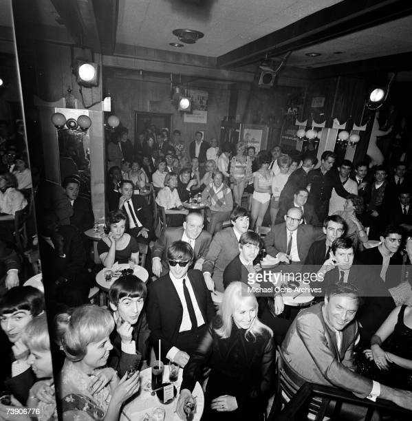 Rock and roll band 'The Beatles' visits The Peppermint Lounge on their first night in the United States on February 7 1964 in New York City New York...
